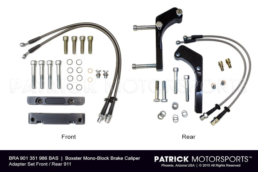 BRA 901 351 986 BAS: BOXSTER MONO-BLOCK BRAKE CALIPER ADAPTER SET FRONT / REAR 911