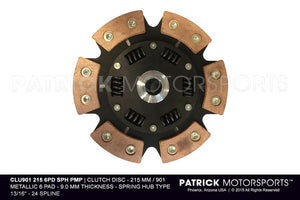 CLUTCH DISC - 215 MM / 901 METALLIC 6 PAD SPRING HUB- CLU9012156PDSPHPMP