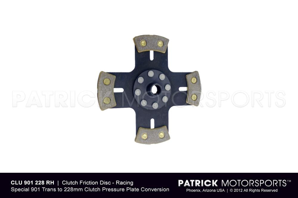 CLU 901 228 4P RH PMP: CLUTCH FRICTION DISC - RACING METALLIC - SOLID HUB - 901 TO 228MM