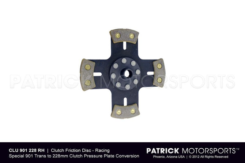 CLUTCH FRICTION DISC - RACING METALLIC - SOLID HUB - 901 TO 228MM- CLU9012284PRHPMP