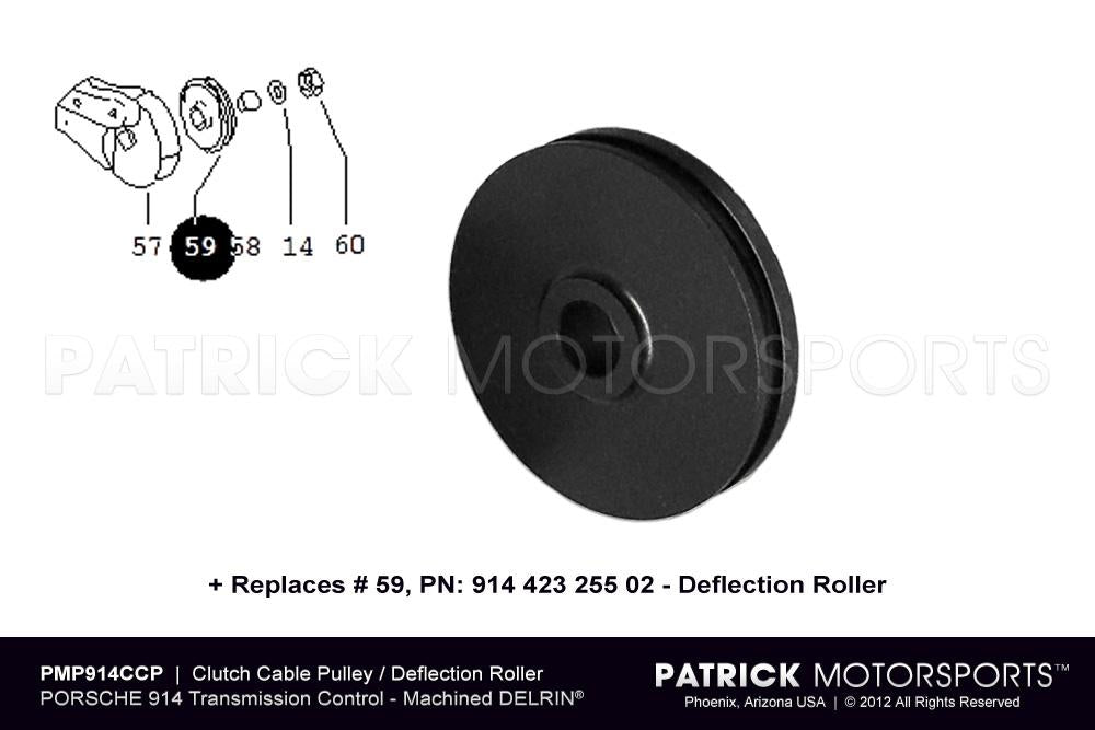 CLU 914 423 255 02 PMP: CLUTCH CABLE PULLEY DEFLECTION ROLLER - (1970-1976) PORSCHE 914