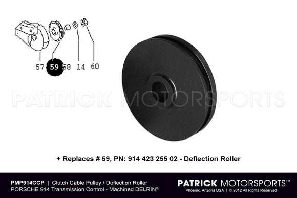 CLUTCH CABLE PULLEY DEFLECTION ROLLER - (1970-1976) PORSCHE 914- CLU91442325502PMP