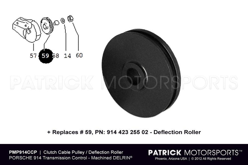 Clutch Cable Pulley Deflection Roller 1970-1976 / Porsche 914 914 423 255 02 / CLU 914-423 255 02 PMP / CLU-914-423-255-02-PMP / 914.423.255.02./ 91442325502