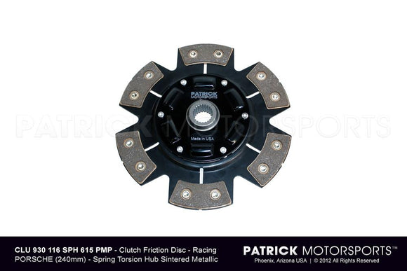 Porsche 911 / 930 / 964 / 993 G50 Transmission 240mm Race Spec Clutch Disc - Sintered Ceramic 6 Pad Button - Spring Torsion Hub CLU 930 116 SPH 615 PMP / CLU 930 116 SPH 900 PMP / CLU.930.116.SPH.900.PMP / CLU930116SPH900PMP