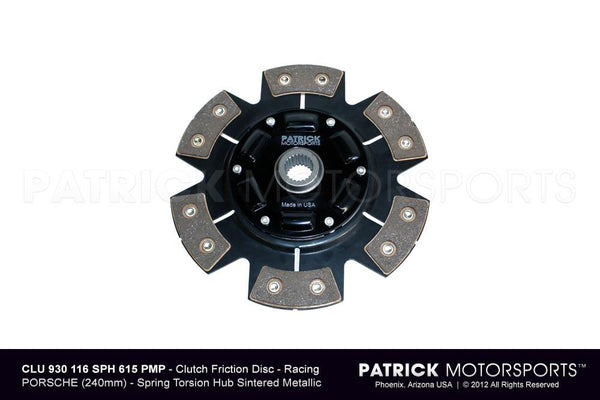 CLUTCH FRICTION DISC - 240MM RACING - SINTERED CERAMIC 6 PAD BUTTON - SPRING TORSION HUB- CLU930116SPH900PMP