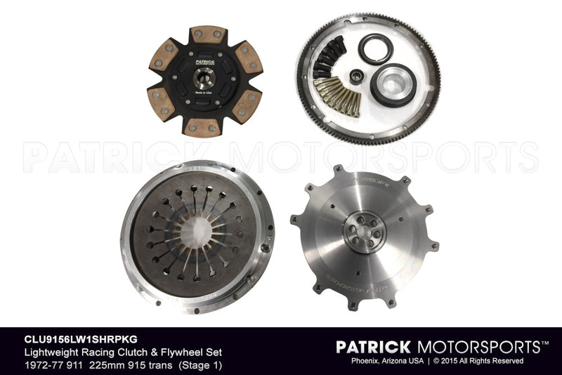 1972-1977 Porsche 911 915 Transmission Stage 1 Lightweight Race Spec Flywheel and Clutch Package - Torsion Spring Hub CLU 9156 LW 1SHR PKG / CLU 9156LW1SHR PKG / CLU-9156LW1SHR-PKG / 9156LW1SHR/ CLU9156LW1SHRPKG