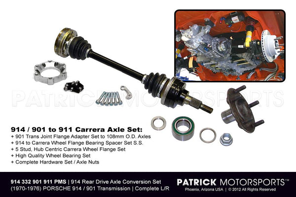 914 REAR CARRERA AXLE DRIVE SHAFT & 5 STUD WHEEL FLANGE CONVERSION SET- DRI914332901911PMS
