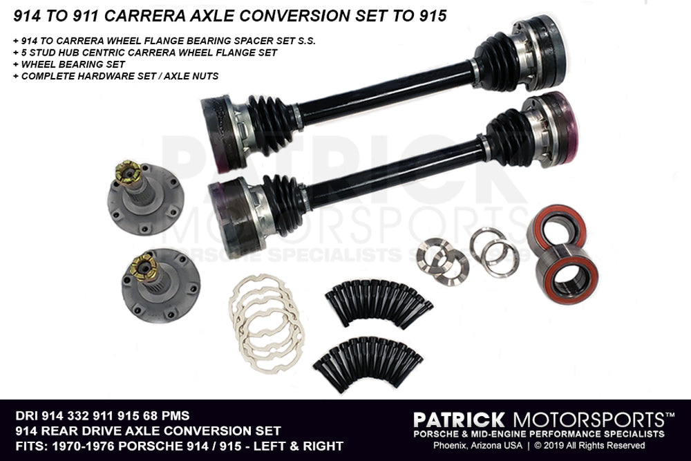 DRI 914 332 911 915 68 PMS: 914 REAR CARRERA AXLE DRIVE SHAFT & 5 STUD WHEEL FLANGE CONVERSION SET TO (1970-1976) PORSCHE 914 WITH (1975-1985) 915 TRANSMISSIONS
