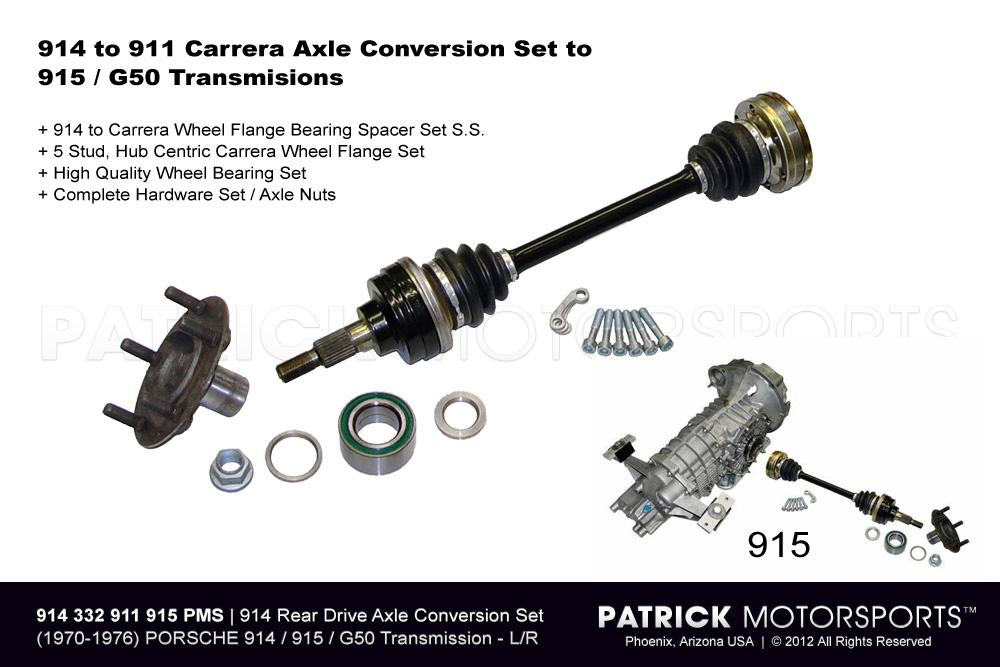 914 REAR CARRERA AXLE DRIVE SHAFT & 5 STUD WHEEL FLANGE CONVERSION SET TO  915 / G50- DRI914332911915PMS