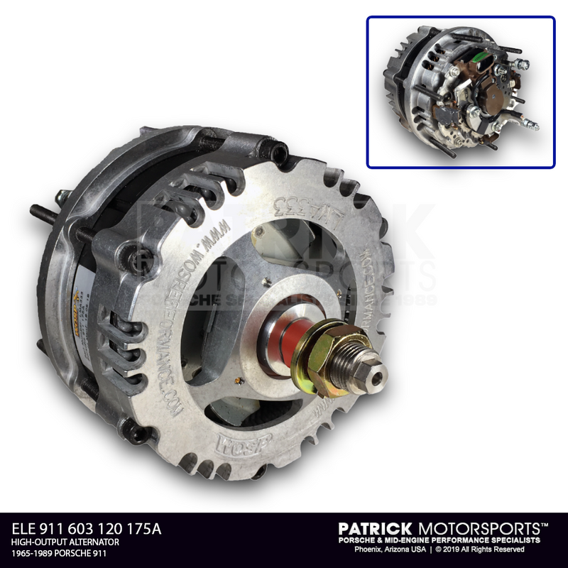 WOSP High-Output Alternator - 175 Amp Peak 12 Volt For 1984-1989 Porsche 911 ELE 911 603 120 175A 84 89 / ELE 911 603 120 175A 84 89 / ELE-911-603-120-175A-84-89 / ELE.911.603.120.175A.84.89 / ELE911603120175A8489 / 911603120 / LMA3333