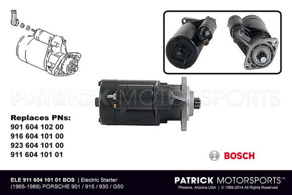 Certified Remanufactured Electric Starter - Porsche 911 / 914 / 930 Turbo - 901 / 915 / 930 / G50 Transaxles ELE 911 604 101 01 BOS R / ELE 911 604 101 01 BOS R / ELE-911-604-101-01-BOS-R / ELE.911.604.101.01.BOS-R / ELE91160410101BOS-R / 911 604 101 01 / 911-604-101-01 / 911.604.101.01 / 91160410101