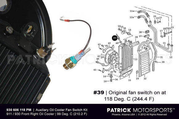 Temperature Switch Sender Kit For Oil Cooler Fan Porsche 911 Carrera - 930 Turbo ELE 930 606 118 PMS / ELE 930 606 118 PM / ELE-930-606-118-PM / 930.606.118 / 930606118