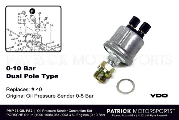 Oil Pressure Sending Unit 3.2L - 3.6L Engine Conversion - Dual Pole ENG 36 OIL PS2 PMS / ENG 36 OIL PS2 PMS / ENG-36-OIL-PS2-PMS /   ENG.36.OIL.PS2.PMS /  36OILPS2 /  928 606 203 04 / 928.606.203.04