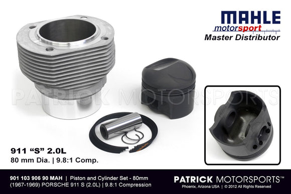 Mahle Engine Piston And Cylinder Set - 2.0L Porsche 911 S 80mm ENG 901 103 906 90 MAH / ENG 901 103 906 90 MAH / ENG-901-103-906-90-MAH / 901.103.906.90  901 103 906 90