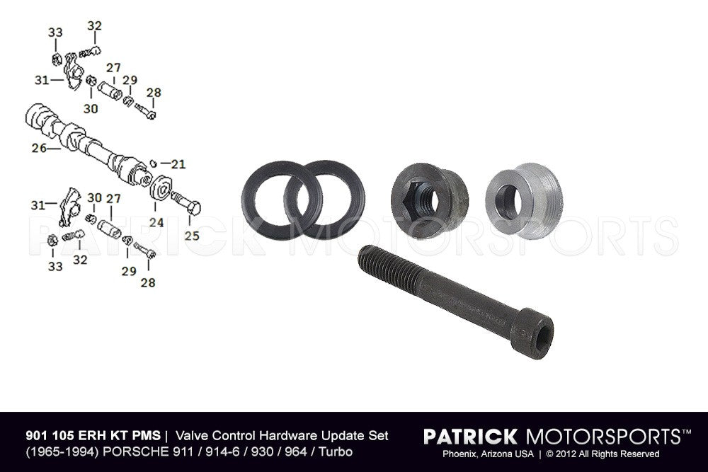 ENG 901 105 ERH KT PMS: ENGINE VALVE CONTROL HARDWARE UPDATE SET WITH RSR ROCKER ARM O-RING SEALS - 911 / 914-6 / 930 / 964 / TURBO