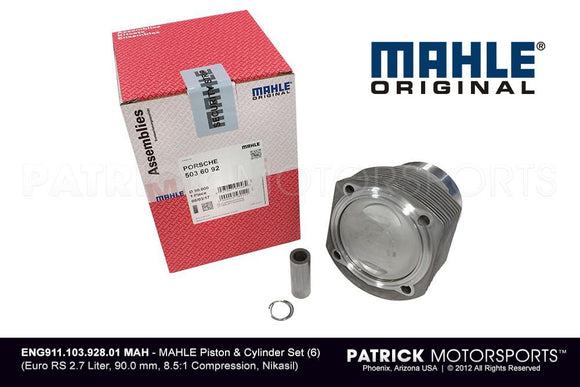 Mahle Engine Piston And Cylinder Set - 90mm 8.5:1 Compression For Porsche 911 Euro RS 2.7L ENG 911 103 928 01 MAH / ENG 911 103 928 01 MAH / 911-103-928-01 / 911.103.928.01 / 91110392801 / ENG91110392801MAH
