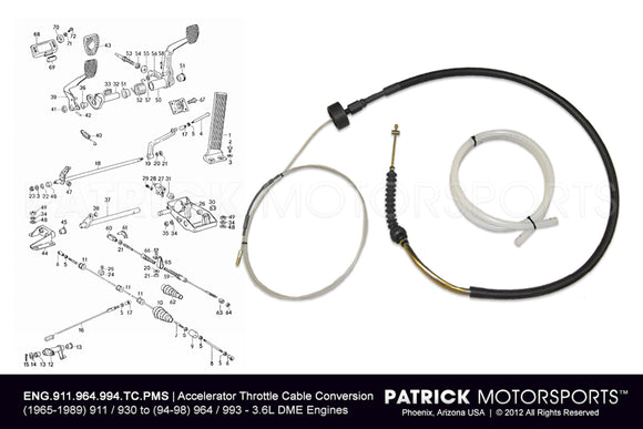PORSCHE 911 - 930 ACCELERATOR THROTTLE CABLE CONVERSION KIT TO 964 / 993 3.6L DME ENGINES- ENG911964993TCPMS