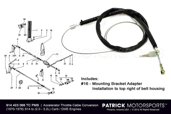 914-6 THROTTLE ACCELERATOR CABLE CONVERSION KIT - (1970-1976) PORSCHE 914-4 TO H6 CYLINDER- ENG914423066TCPMS