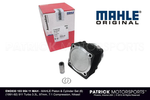 Mahle Piston & Cylinder Set (6) - 1991 1992 Porsche 911 Turbo 930 3.3L (ENG 930 103 954 11 MAH)