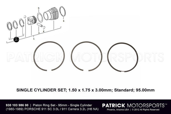 SET OF PISTON RINGS - STANDARD 95.00MM - (1980-1989) PORSCHE 911 SC 3.0L / CARRERA 3.2L- ENG93010398600GOE