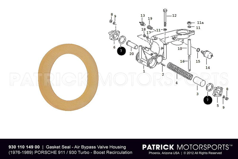 GASKET SEAL - TURBO AIR BYPASS VALVE HOUSING - PORSCHE 911 / 930 / 924 TURBO- ENG93011014900VIC