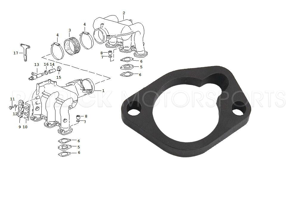 ENG 930 110 459 00 OES: INTERMEDIATE INTAKE MANIFOLD FLANGE - (1984-1989) 911 CARRERA - 3.2L DME