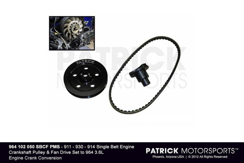 PORSCHE 911 930 914 SINGLE BELT ENGINE CRANKSHAFT PULLEY & FAN DRIVE SET TO 964 3.6L CRANK CONVERSION- ENG964102050SBCFPMS