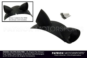 ENG 964 105 HFS D225 PMS: DUAL HOT AIR HEATER SOCKET DISTRIBUTOR MANIFOLD ON 964 993 3.6L ENGINE FAN SHROUD