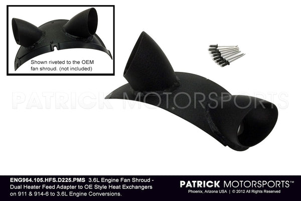 DUAL HOT AIR HEATER SOCKET DISTRIBUTOR MANIFOLD ON 964 993 3.6L ENGINE FAN SHROUD- ENG964105HFSD225PMS