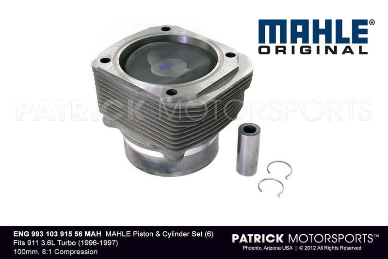 Mahle Engine Piston And Cylinder Set 6 / 993 Turbo 3.6L GT2 1996 - 97 / ENG 993 103 915 56 MAH / ENG 993 103 915 56 MAH / ENG-993-103-915-56-MAH / ENG.993.103.915.56.MAH / ENG99310391556MAH / 993 103 915 56  / 993-103-915-56 / 993.103.915.56 / 99310391556