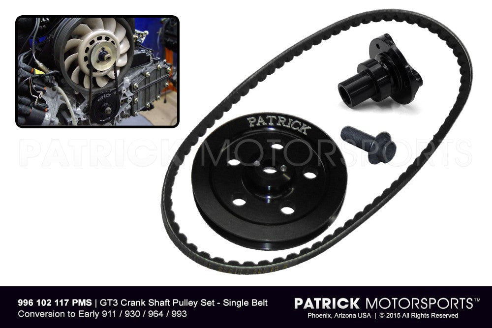 ENG 996 102 117 PMS: GT3 CRANK SHAFT PULLEY SET - SINGLE BELT - CONVERSION TO EARLY 911 / 930 / 964 / 993