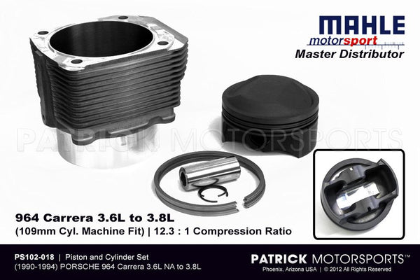 PISTON & CYLINDER SET - 964 3.6L TO 3.8L NA | MACHINE FIT MAHLE MOTORSPORTS- ENGPS102018