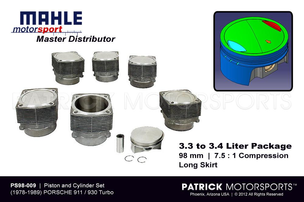 ENG PS98 009: MAHLE PISTON AND CYLINDER SET - 930 TURBO - 3.3 TO 3.4L MAHLE MOTORSPORTS