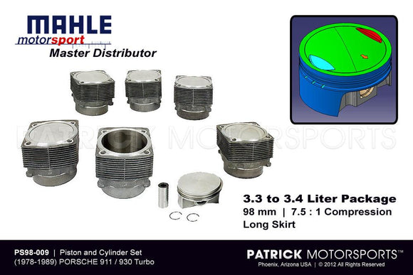 Mahle MotorSport 98MM Engine Piston And Cylinder Set 1978-1989 Porsche 930 Turbo 3.3L To 3.4L Conversion ENG PS98 009 / ENG PS98 009 / ENG-PS98-009 / ENG.PS98.009 / ENGPS98009 / PS98009