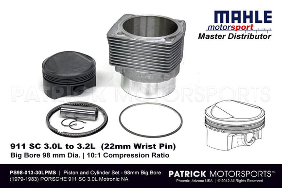 PISTON AND CYLINDER SET - PORSCHE 911 SC 3.0 CIS TO 3.2 LITER MAHLE MOTORSPORTS- PS9801330LPMS