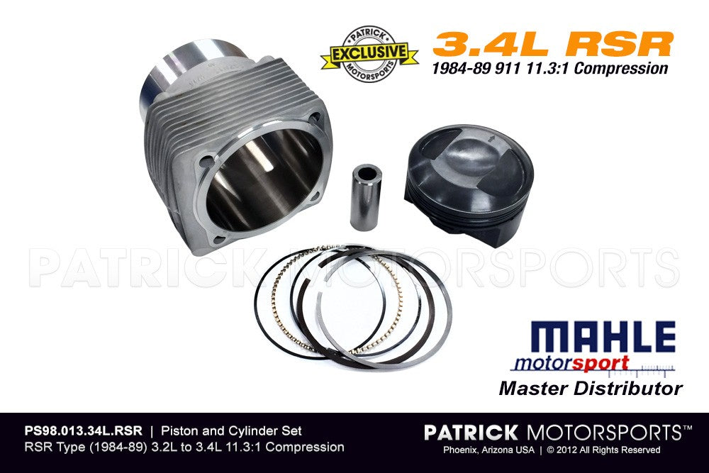 ENG PS98 013 34L RSR: MAHLE PISTON & CYLINDER SET 11.3:1 HIGH COMP (1984-89) 3.2L TO 3.4L RSR TYPE