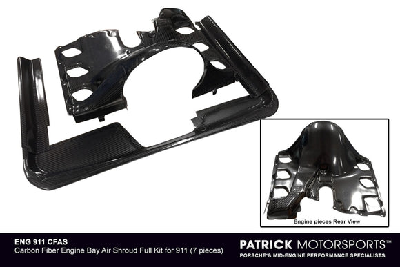 PORSCHE 911 ENGINE BAY CARBON FIBER AIR SHROUD FULL KIT- ENG911CFAS