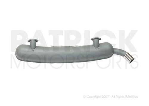 EXHAUST MUFFLER - (1974) PORSCHE 911 / 2.7L - GREY PAINTED STEEL - DUAL IN, SINGLE LEFT OUT CHROME ORNAMENTAL TIP- EXH91111102501DAN