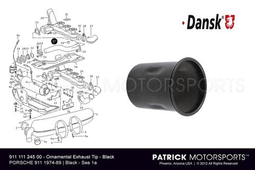 MUFFLER TIP - ORNAMENTAL EXHAUST PIPE - (1974-1989) PORSCHE 911- EXH91111124502DAN