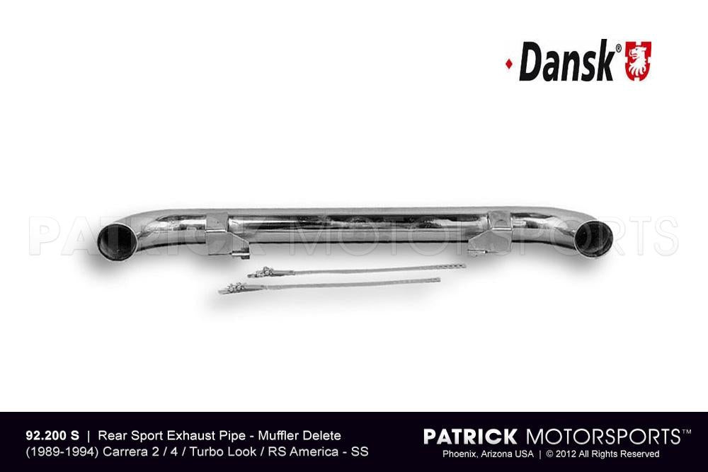 EXH 92 200 S: REAR SPORT EXHAUST PIPE - MUFFLER DELETE - (1989-1994) CARRERA 2 / 4 / TURBO LOOK / RS AMERICA