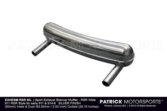 SPORT EXHAUST SILENCER MUFFLER - RSR WIDE - PORSCHE 911 RSR STYLE FOR EARLY PORSCHE 911 914-6 SILVER- EXHESMRSRSIL