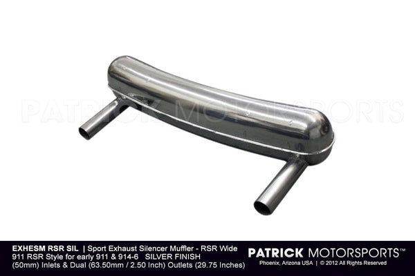 Porsche 911 RSR Sport Exhaust Muffler For Early 911 / 914-6 - Wide Configuration - Silver EXH ESM RSR SIL / EXH ESM RSR SIL / EXH-ESM-RSR-SIL / EXH.ESM.RSR.SIL / EXHESMRSRSIL