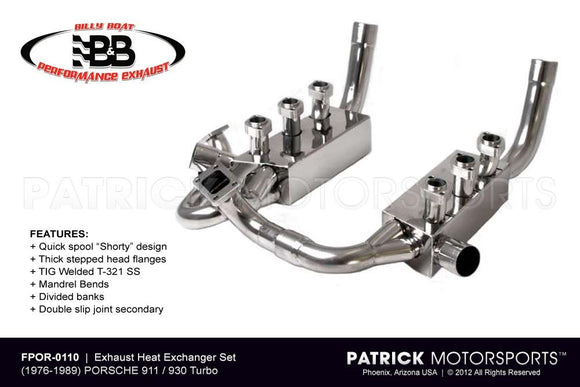 930 TURBO EXHAUST MANIFOLD HEAT EXCHANGER HEADER SET - PORSCHE 911 / 930 TURBO- EXHFPOR0110