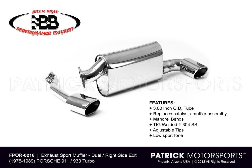EXH FPOR 0216: EXHAUST MUFFLER 911 930 TURBO - RIGHT SIDE OUT