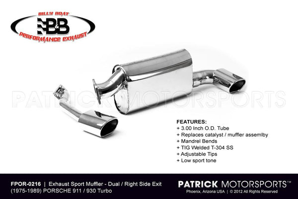 EXHAUST MUFFLER PORSCHE 911 930 TURBO - RIGHT SIDE OUT- EXHFPOR0216