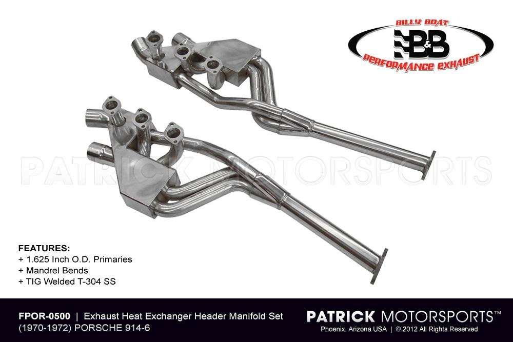 EXH FPOR 0500: EXHAUST HEAT EXCHANGER HEADER MANIFOLD SET - PORSCHE 914-6 | 1.625 IN.