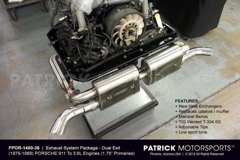 Porsche 911 Complete Exhaust Package For 3.6L Engine Conversion To 1975-1989 Porsche 911 SC / Carrera Chassis EXH FPOR 1400 36 PMS / EXH FPOR 1400 36 / EXH-FPOR-1400-36 / EXH.FPOR.1400.36 / EXHFPOR140036