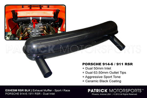 EXH ESM RSR GRY: SPORT EXHAUST SILENCER MUFFLER 914-6 GT - 911 RSR WIDE STYLE DARK GRAY CERAMIC