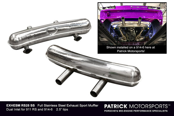 Porsche 911 RS Sport Exhaust Muffler For Early 911 / 914-6 Dual Inlet and Outlet - Stainless Steel EXH ESM SS RS PMS / EXH.ESM.SS.RS.PMS /  EXHESMSSRSPMS / EXH ESM SS 206L RS PMS / EXH.ESM.SS.206L.RS.PMS / EXHESMSS206LRSPMS / EXH ESM RS206 SS / EXH.ESM.RS206.SS / EXHESMRS206SS