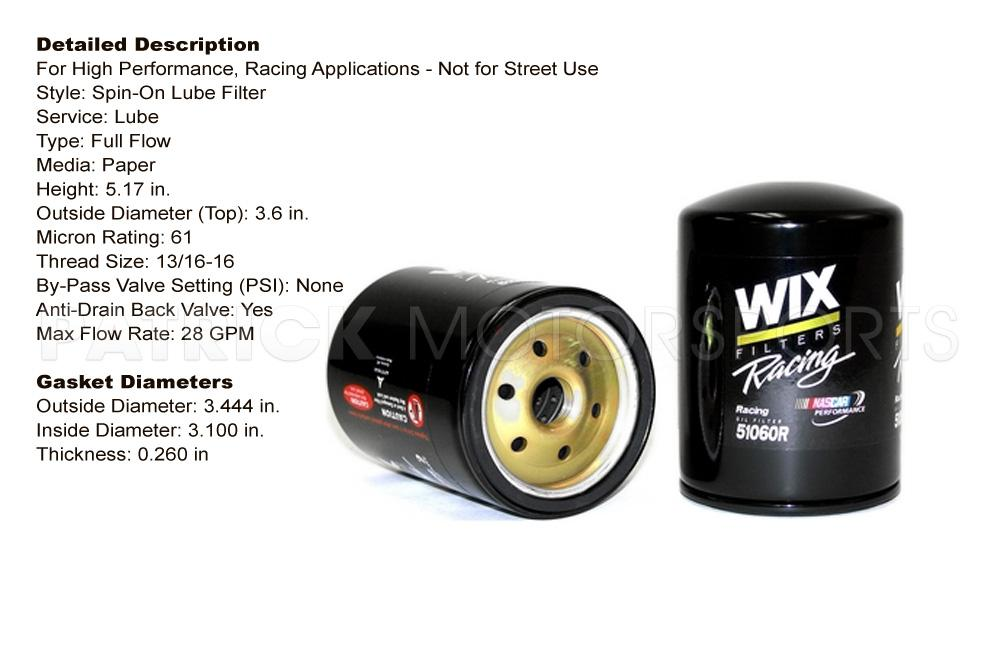 FIL 51060R: ENGINE OIL FILTER - WIX RACING